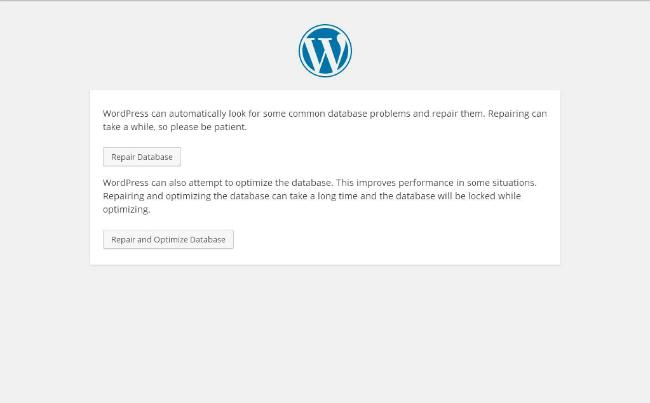 Wordpress Database Repair Screen